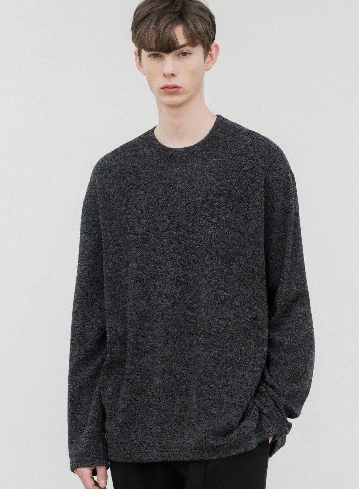 WANTS LOOSE-FIT KNIT T-SHIRTS [BLACK]
