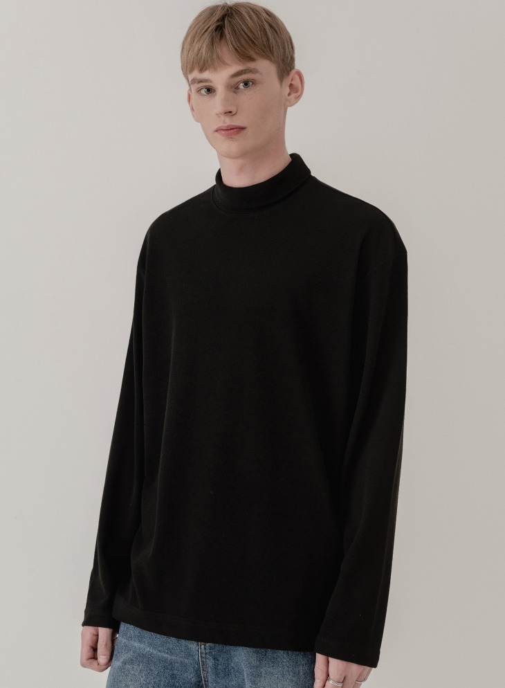 BREED HALF TURTLE-NECK KNIT T-SHIRTS [BLACK]