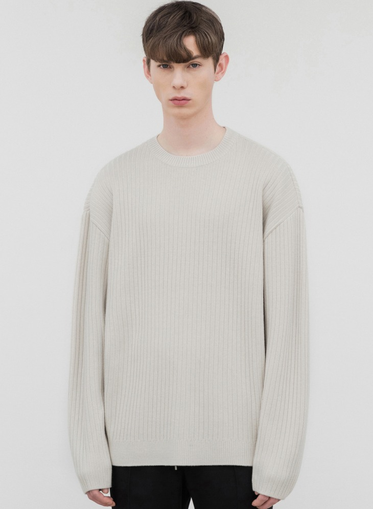 OVERSIZED RIBBED ROUND KNIT [CREAM]