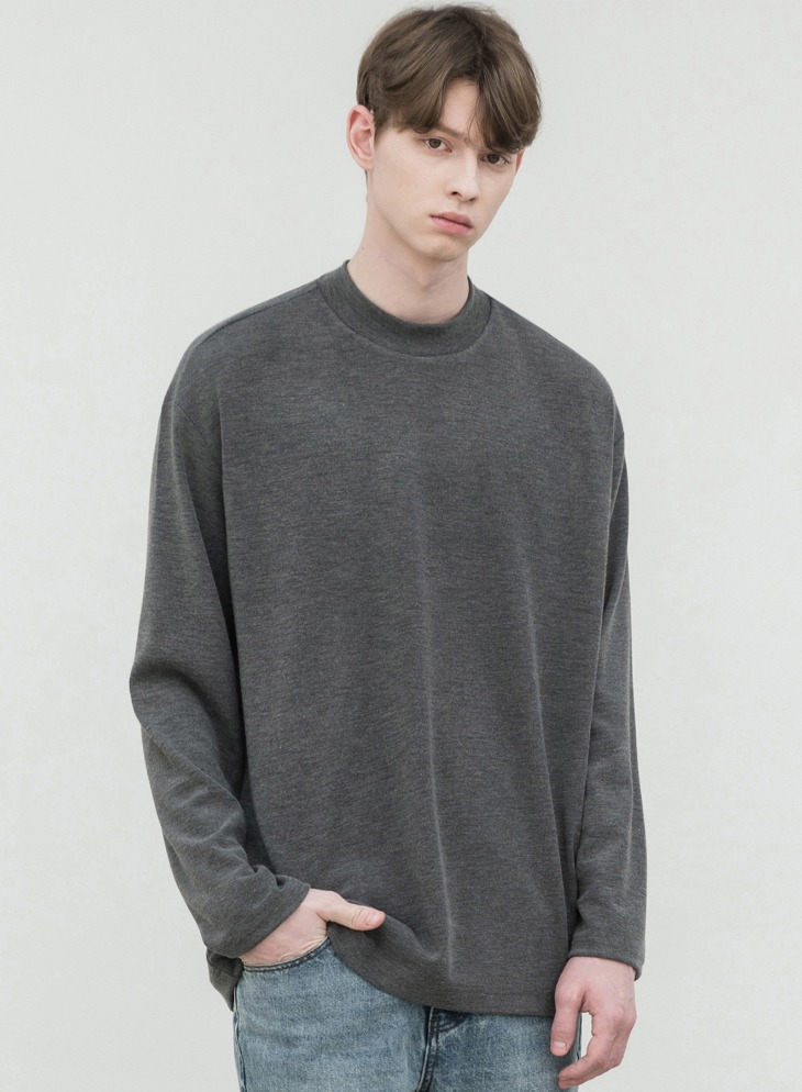 HALF MOCK-NECK KNIT T-SHIRTS [GREY]