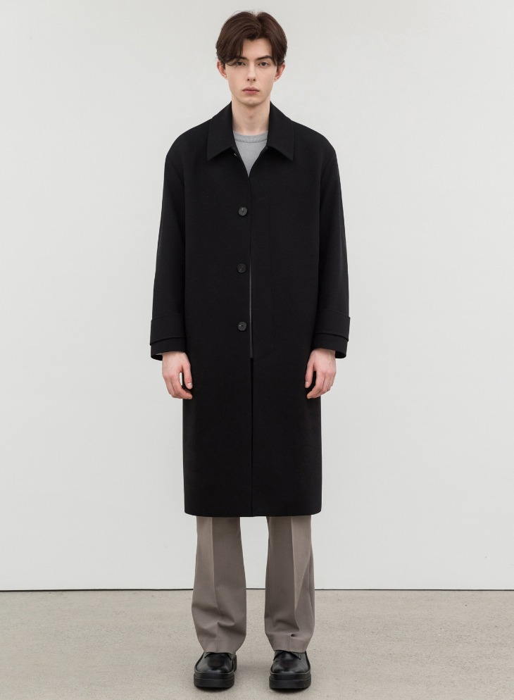 WOOL BLENDING BALMACAAN OVER-COAT [BLACK]