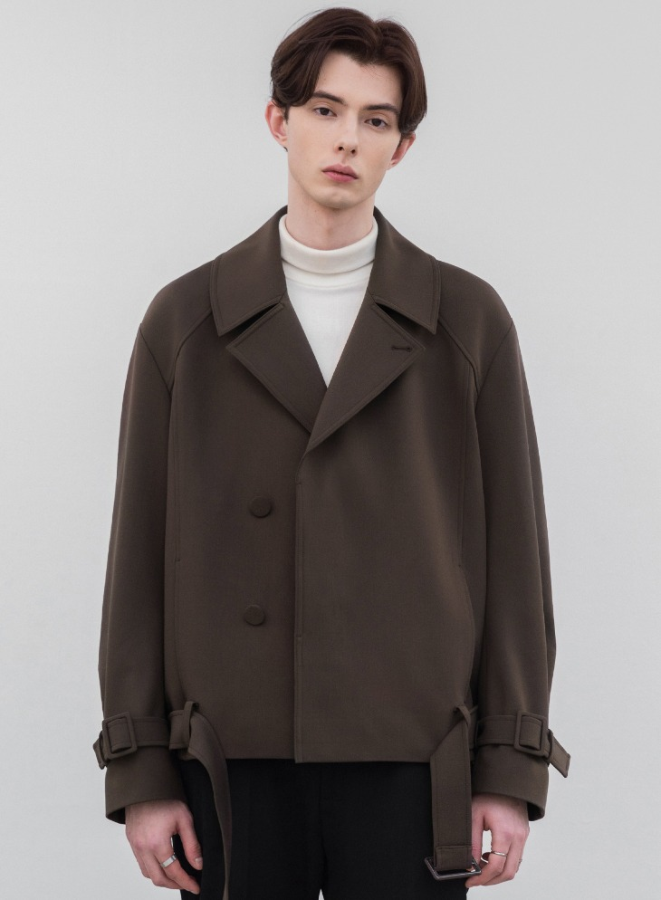 RELAXED WOOL SHORT TRENCH JACKET [DARK BROWN]