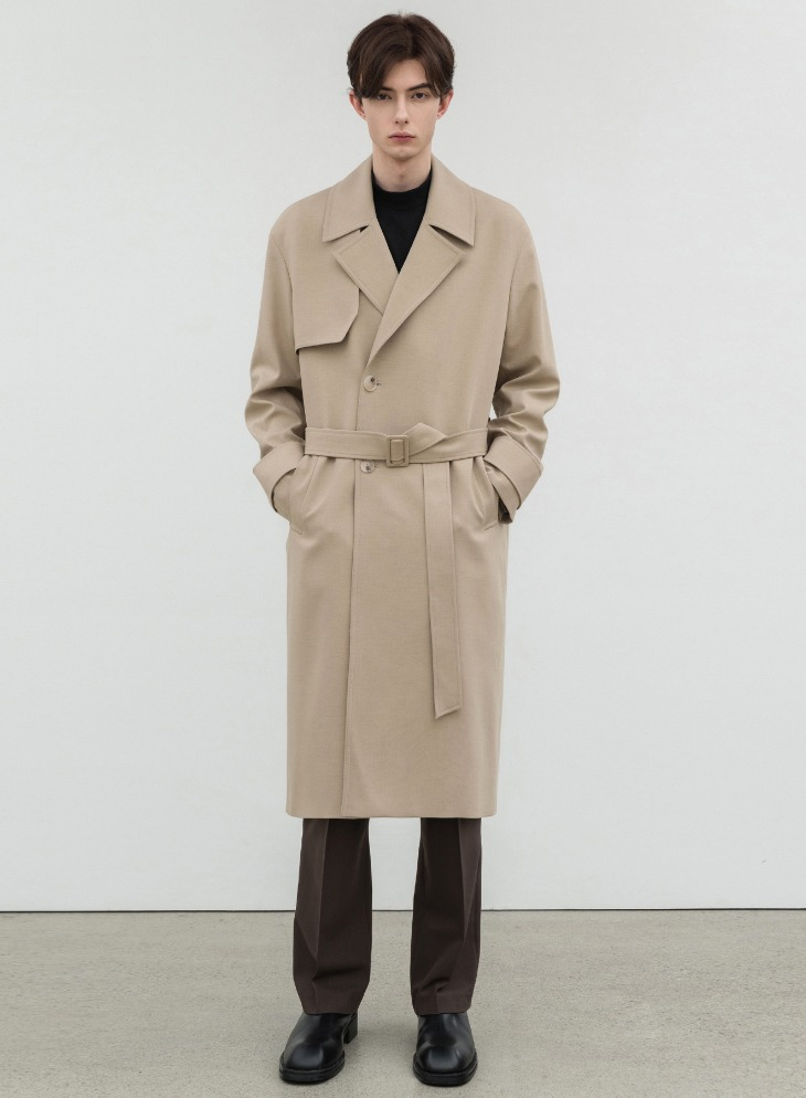 WOOL BLENDING OVER TRENCH COAT [L.BEIGE]