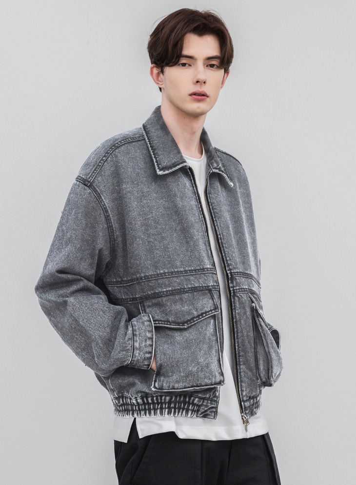 LINE-OVER DENIM BOMBER JACKET [GREY]