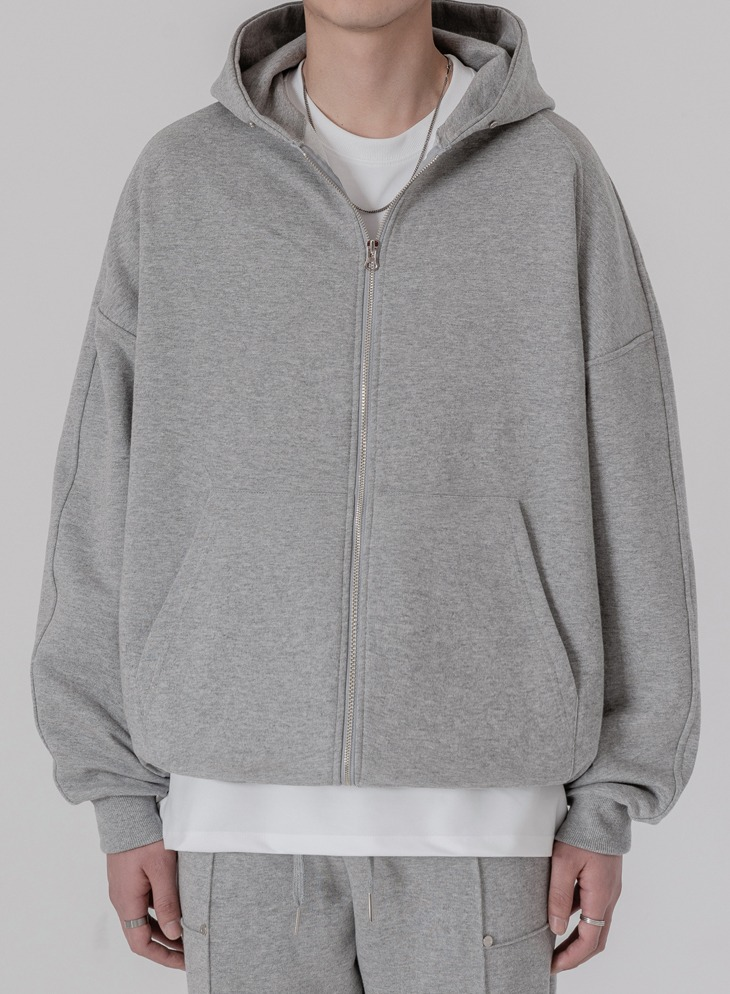 EASY SWEAT 2WAY ZIP-UP HOODIE [M.GREY]