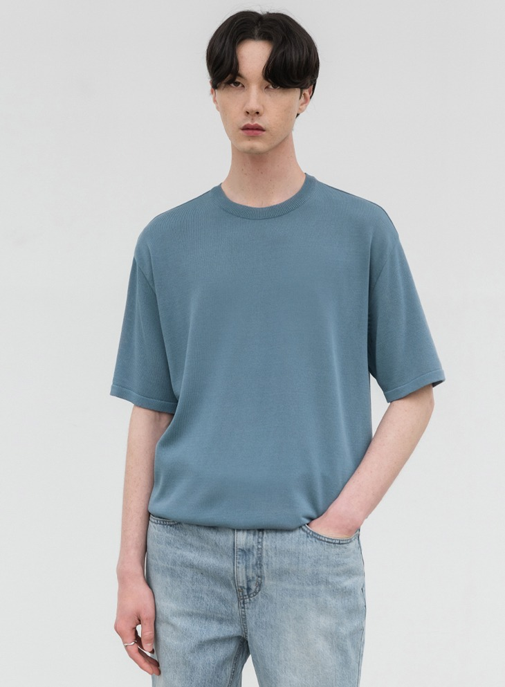 AIRY ROUND HALF KNIT [SKY BLUE]