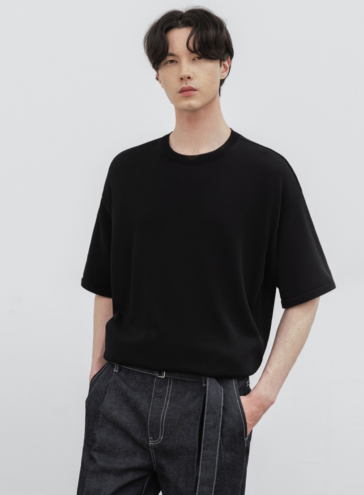 AIRY ROUND HALF KNIT [BLACK]