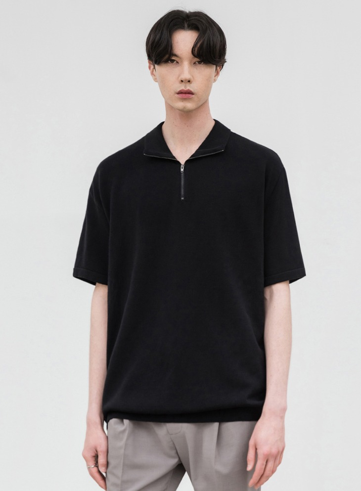 SOFTENING ZIP-UP COLLAR HALF KNIT [BLACK]