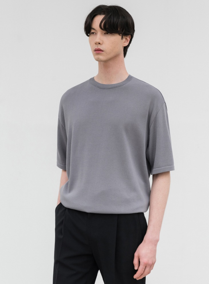AIRY ROUND HALF KNIT [BLUEGREY]