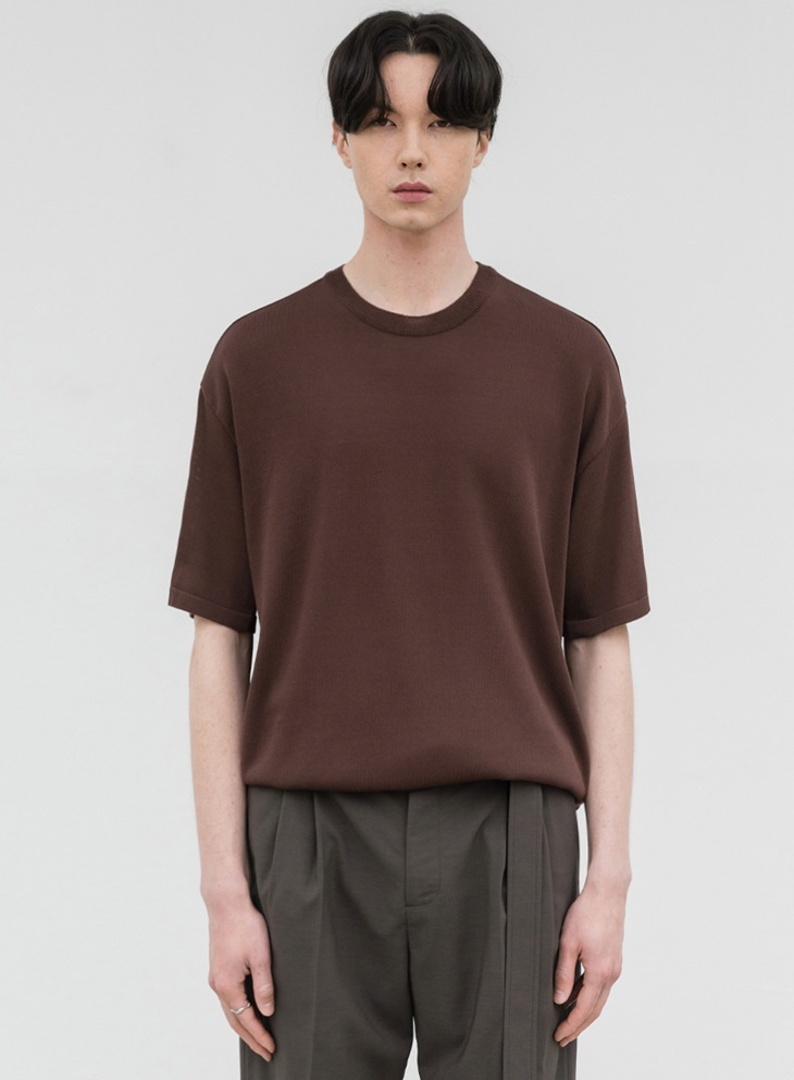 AIRY ROUND HALF KNIT [DARK BROWN]