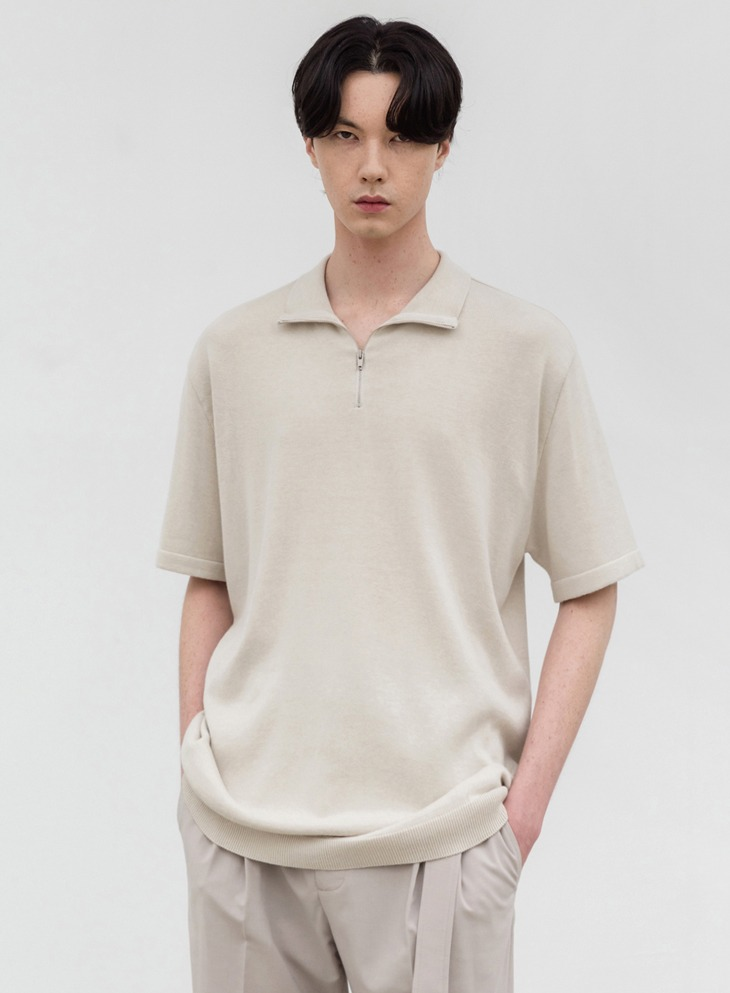 SOFTENING ZIP-UP COLLAR HALF KNIT [CREAM]